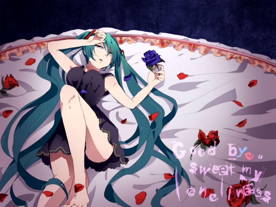 vocaloid dress flowers green hair hatsune miku kokoroa long hair petals rose twintails vocaloid wallpaper