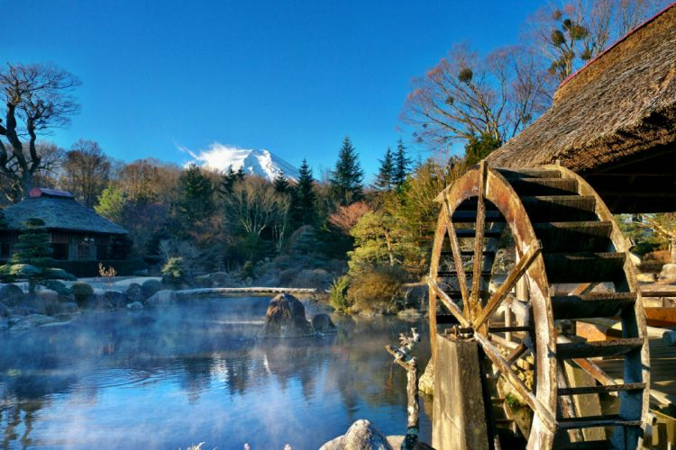 water mill river house forest mountain harmony beautiful reflection wallpaper