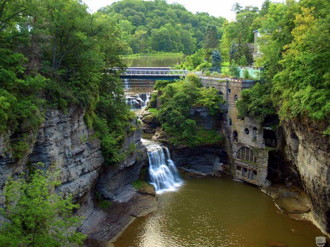 waterfall cascade nature rocks trees landscape wallpaper