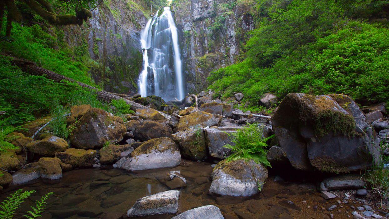waterfall rocks stones nature wallpaper