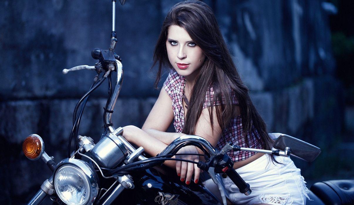 Yamaha Virago motorcycle Andressa sexy      g wallpaper