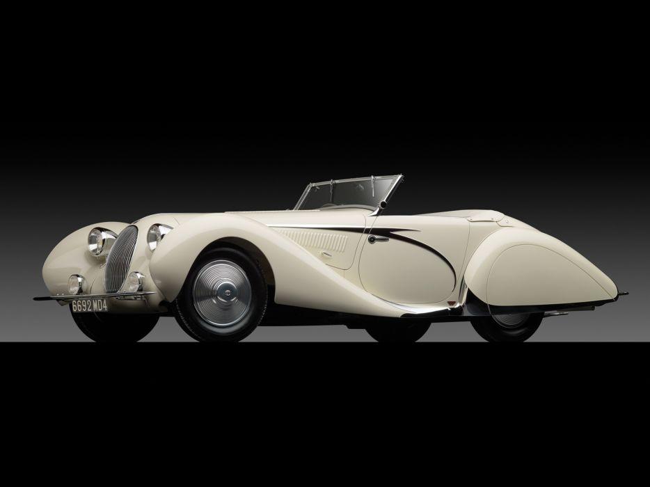1936 Talbot Lago T150C Cabriolet by Figoni & Falaschi retro wallpaper