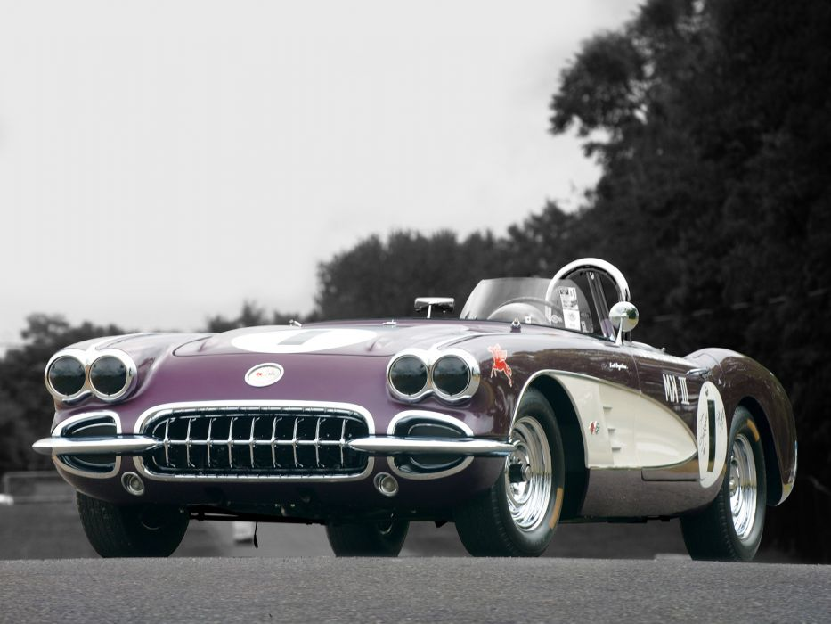 1958 Chevrolet Corvette Purple People Eater supercar race racing muscle hot rod rods wallpaper
