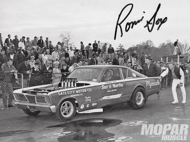 1966 Sox And Martin Plymouth Cuda drag racing race muscle hot rod rods f wallpaper