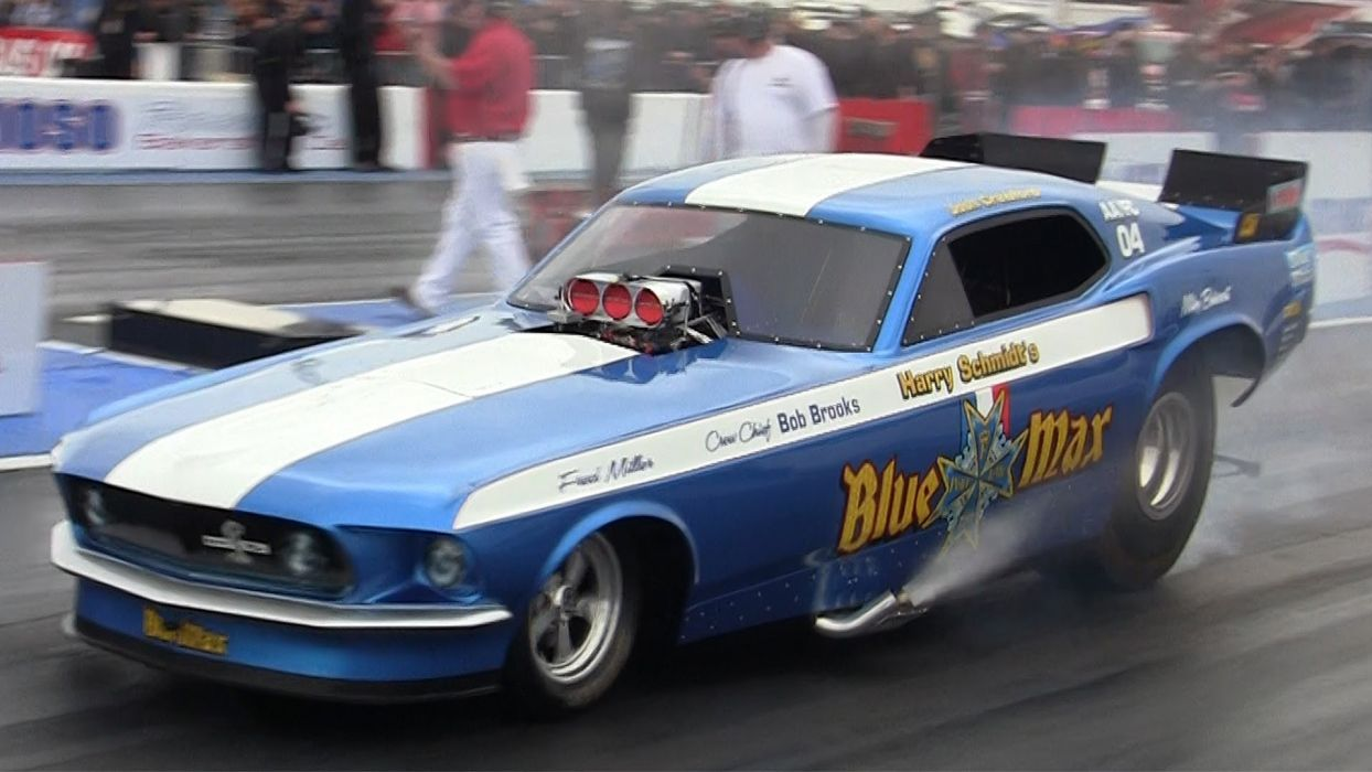 funnycar funny nhra drag racing race hot rod rods BLUE MAX ford mustang x wallpaper
