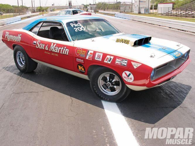 Sox And Martin Plymouth Cuda drag racing race muscle hot rod rods h wallpaper