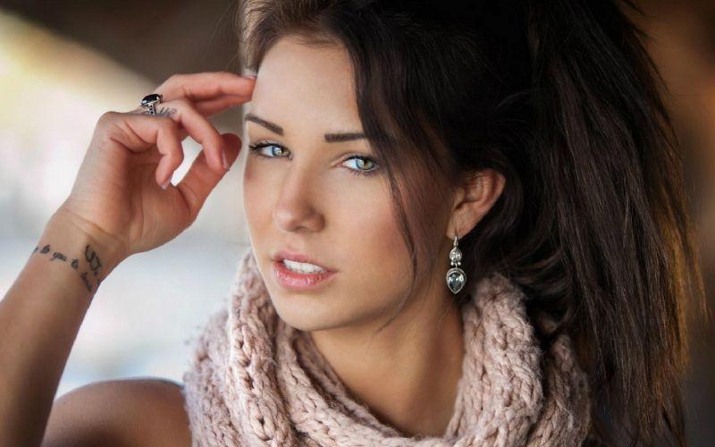 Woman Girl Beauty Brunette Anja Zeidler wallpaper