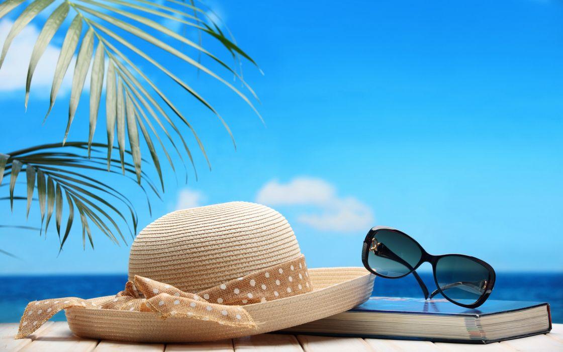 Beach Straw Hat Sunglasses Book wallpaper