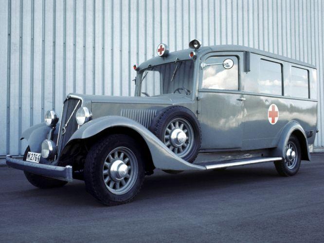 1934 Volvo PV650 Ambulance emergency police firetruck retro stationwagon wallpaper