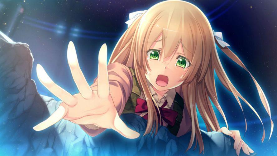 blonde hair game cg green eyes long hair night oosaki shinya stars tears yasouji ai wallpaper