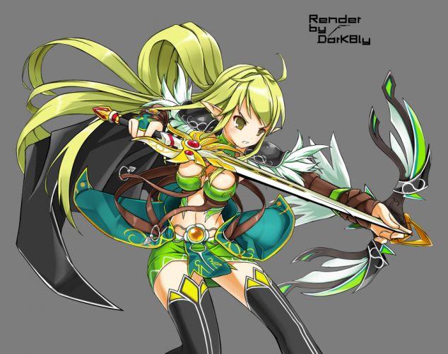 elf elsword green eyes green hair rena sword vector weapon wallpaper