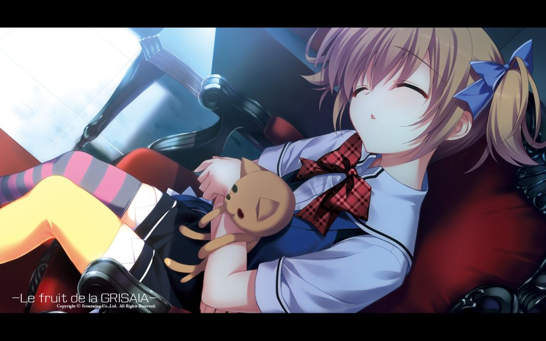 grisaia no kajitsu brown hair frontwing fumio irisu makina seifuku sleeping thighhighs wallpaper