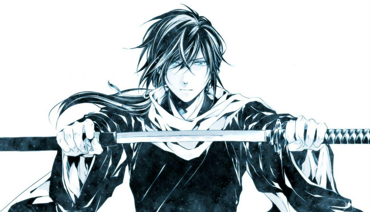 hakuouki shinsengumi kitan blue eyes hakuouki shinsengumi kitan japanese clothes male ponytail saitou hajime samurai sword weapon wallpaper