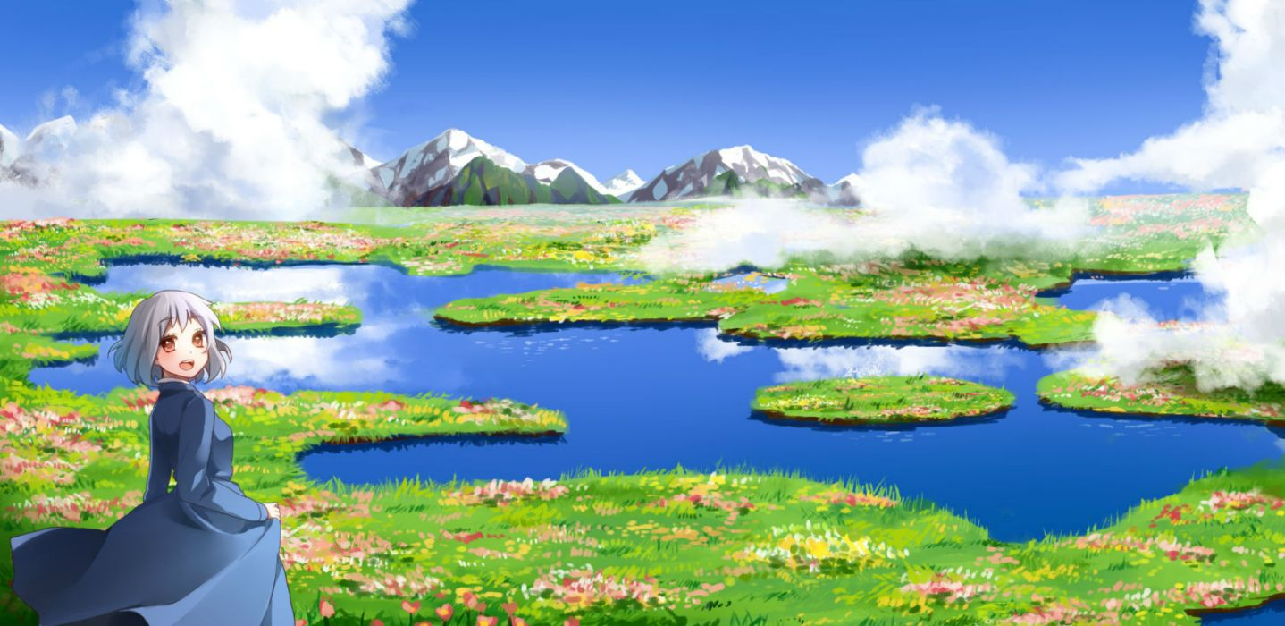 howls moving castle clouds flowers grass ichinose yukino scenic sky sophie hatter water wallpaper