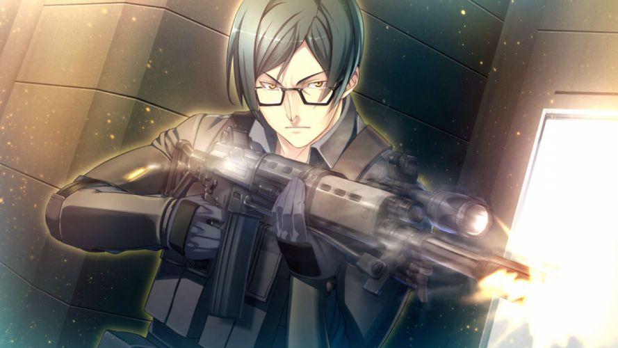 innocent bullet game cg glasses green hair gun oosaki shinya police uniform sugie ryou weapon yellow eyes wallpaper