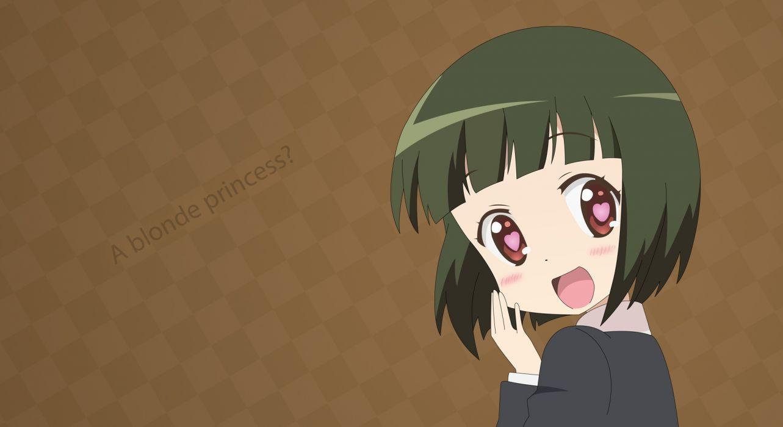 kiniro mosaic blush brown green hair oomiya shinobu red eyes short hair vector wallpaper