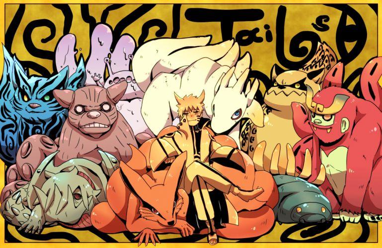 naruto chomei gyuki horns isobu (naruto) kokuo (naruto) multiple tails naruto orange eyes orange hair saiken (naruto) uzumaki naruto wallpaper