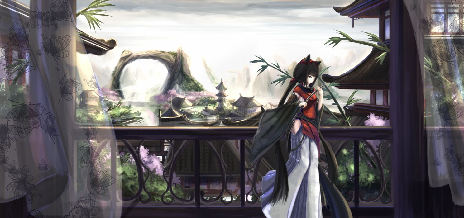 original animal ears black hair blue eyes building catgirl chinese clothes kikivi knife long hair original scenic wallpaper