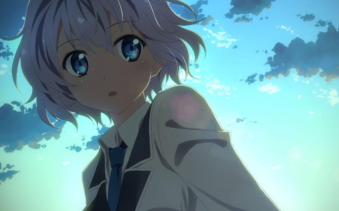 original blue eyes close clouds original seifuku short hair sky white hair yuuki tatsuya wallpaper
