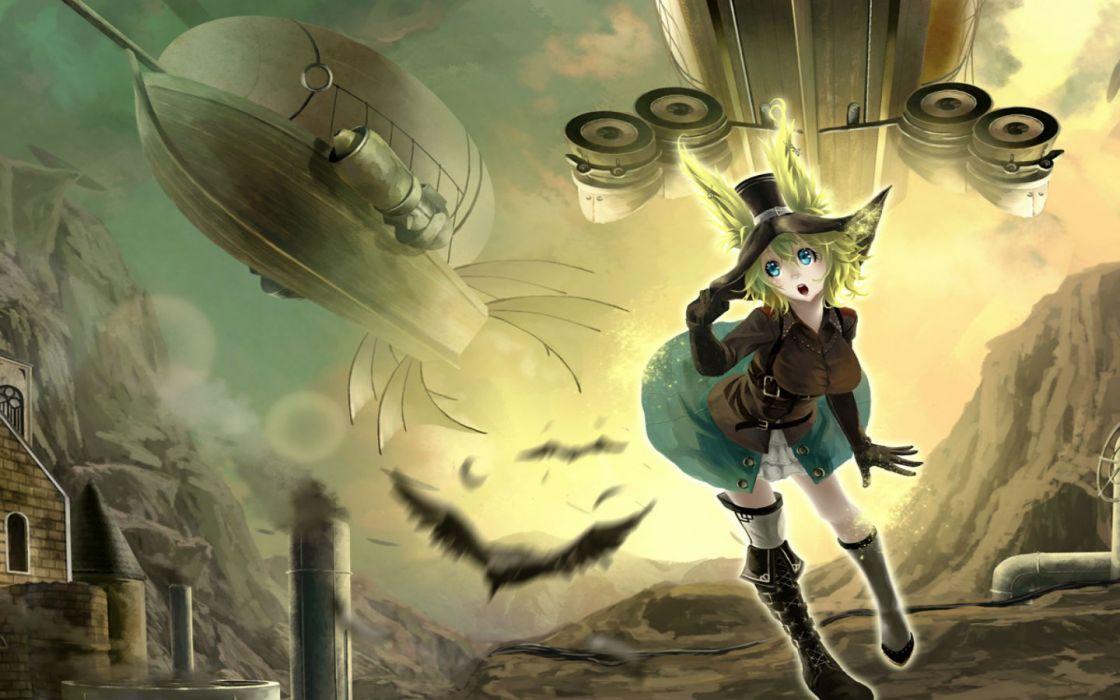 original steampunk aircraft akaikitsune animal ears boots green hair hat original wallpaper