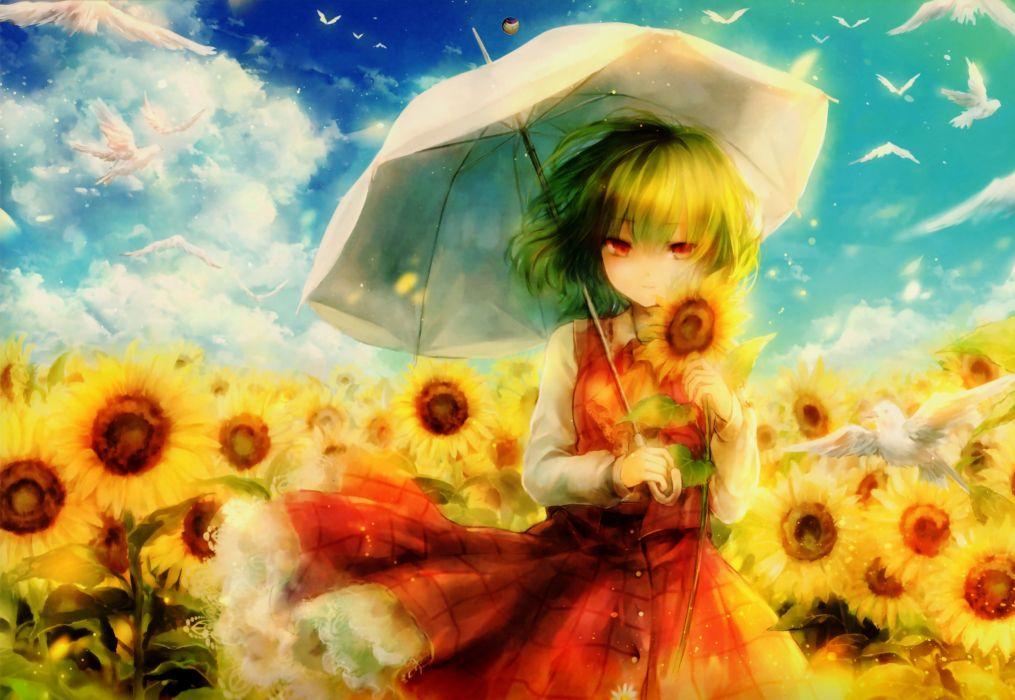 touhou animal bird clouds flowers green hair kazami yuuka onineko red eyes scan shirt short hair skirt sky sunflower touhou umbrella wallpaper