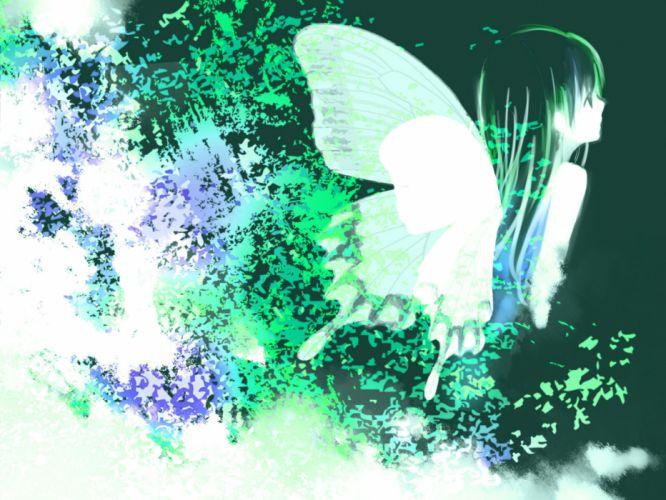 vocaloid black hair butterfly hatsune miku long hair vocaloid wings wallpaper