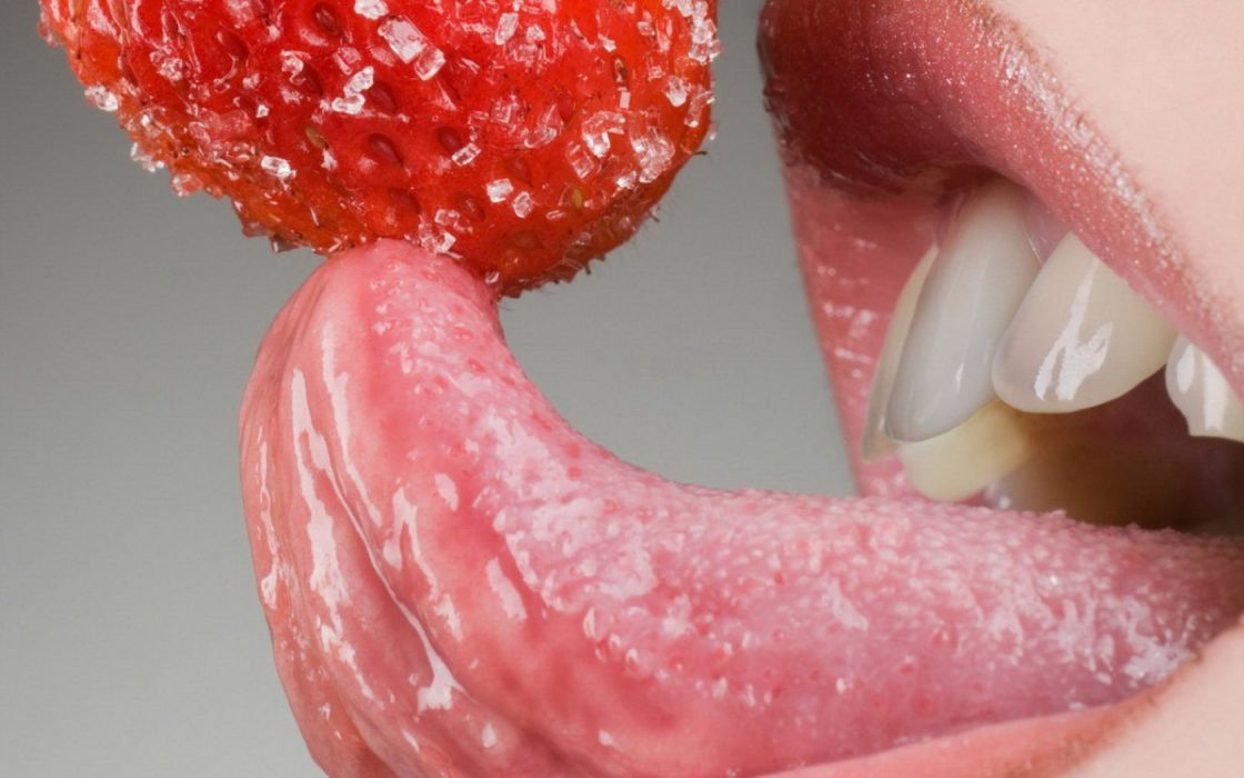 Girl Mouth Teeth Tongue Strawberry wallpaper