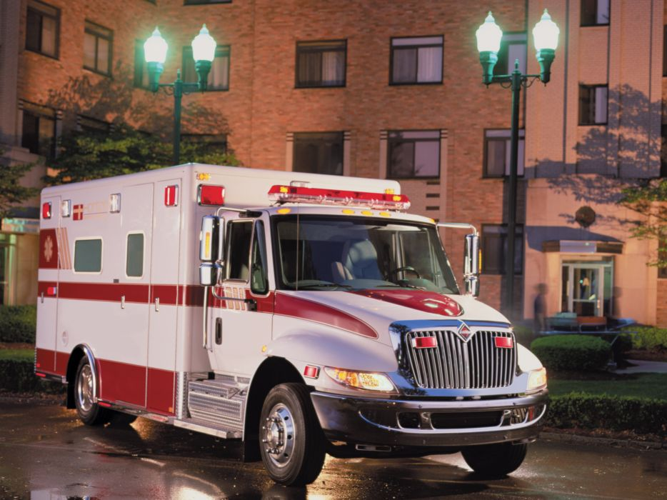 2002 International DuraStar 4300 Ambulanc semi tractor firetruck emergency   g wallpaper