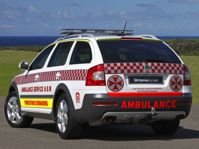 2009 Skoda Octavia Scout Ambulance 1Z emergency stationwagon g wallpaper