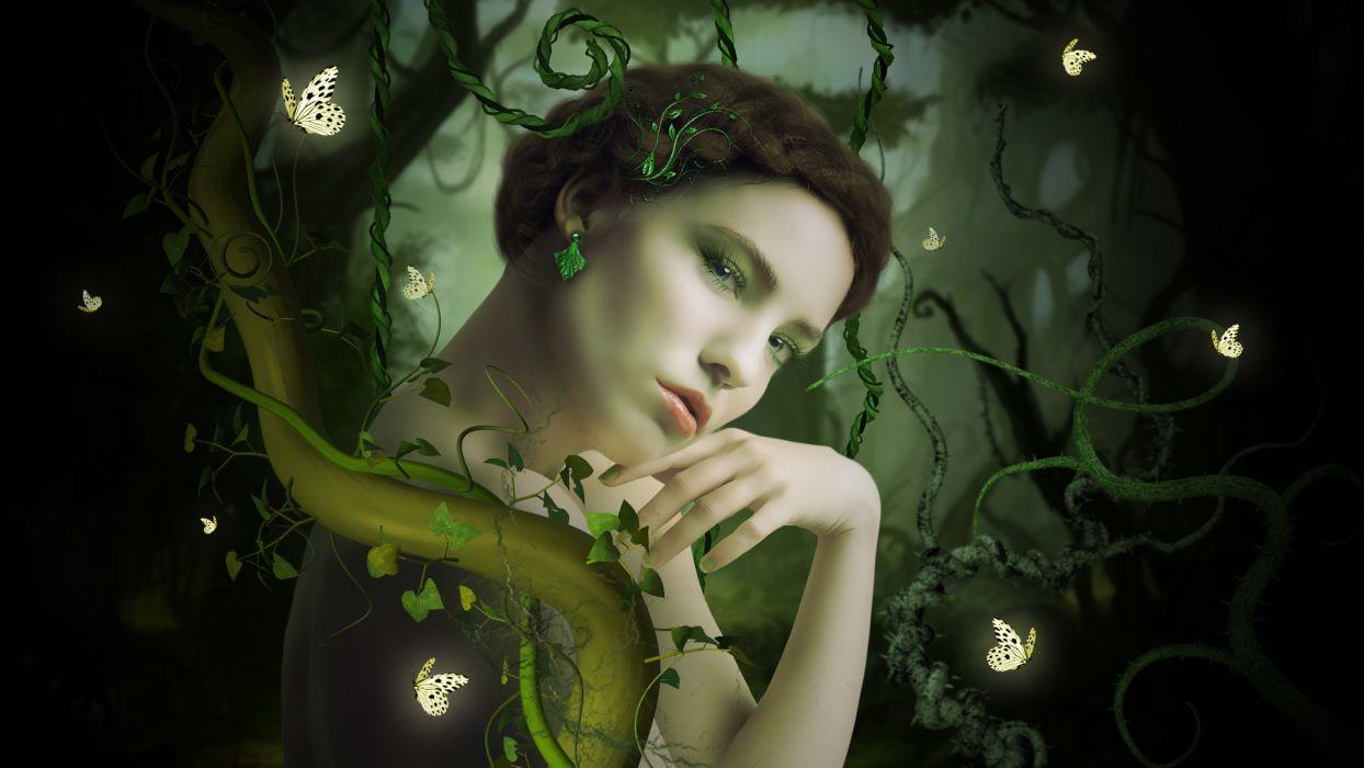 fairy butterfly forest mood girl wallpaper