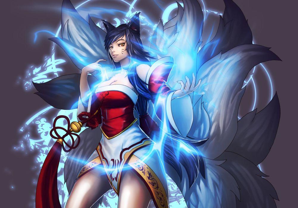 League of Legends Ahri Magic Tail Game Girl Fantasy wallpaper