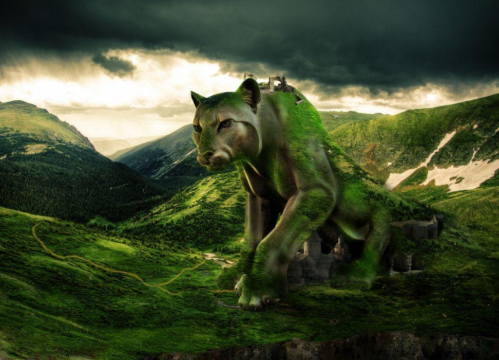 puma leopard jaguar city castle mountains sky wallpaper