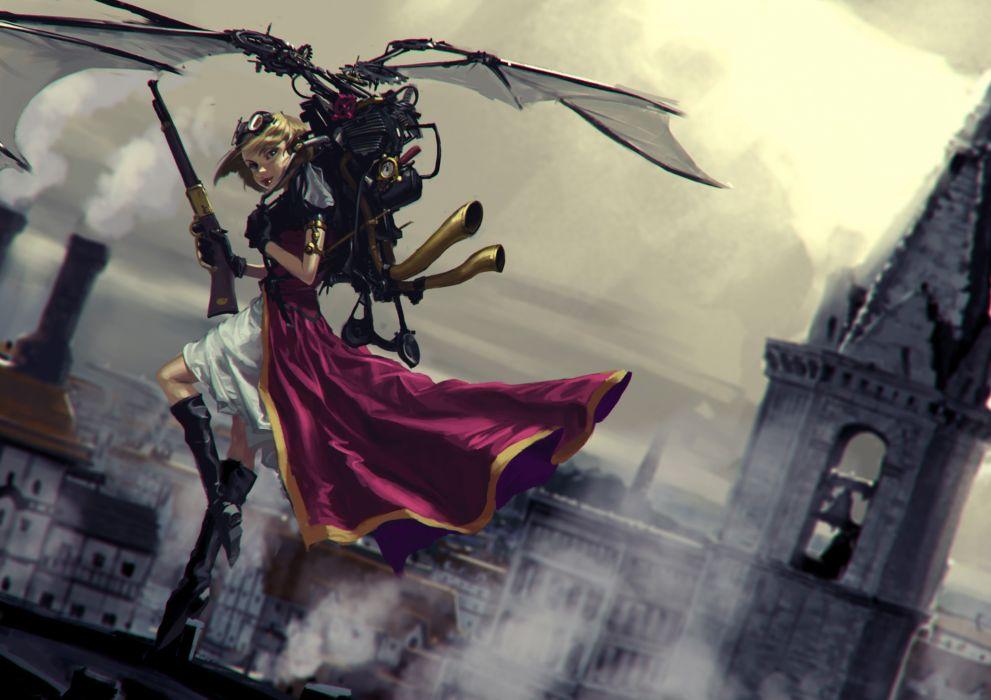 Steampunk Shotgun Warrior Cloak Fantasy Girl fantasy wallpaper