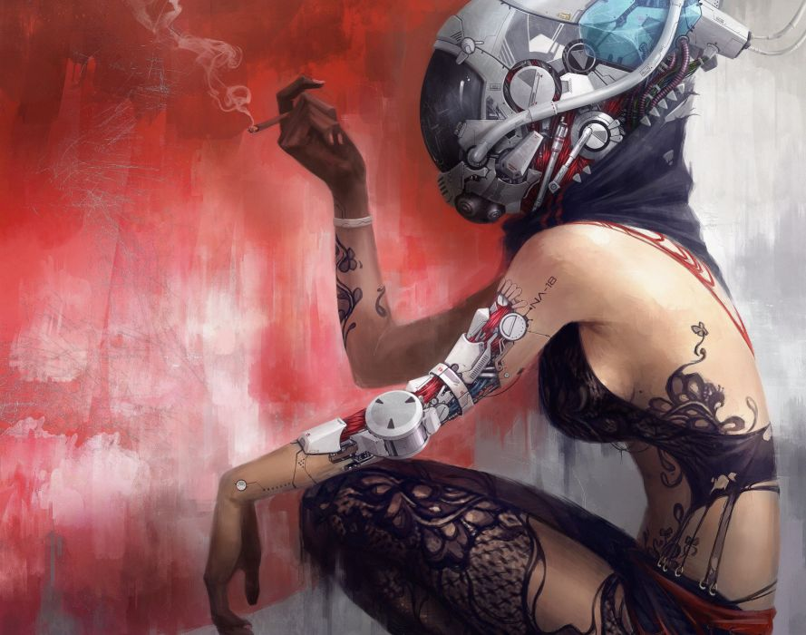 Technics Robot Helmet Tattoo Fantasy cyborg sexy wallpaper