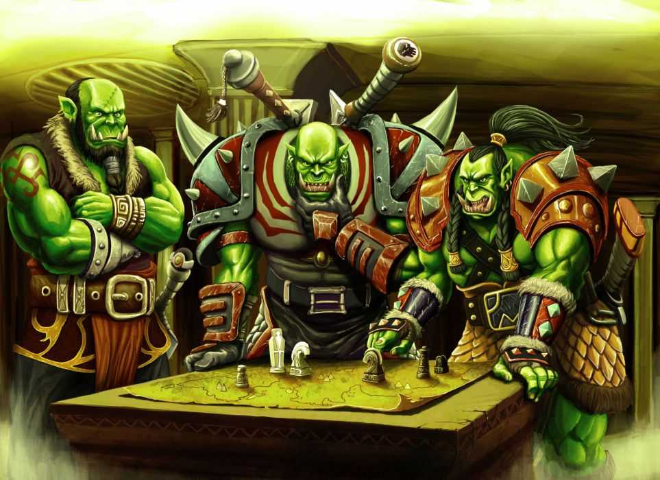 World of WarCraft WoW Orc Warrior Table Game Fantasy wallpaper