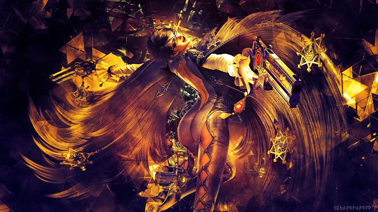 Bayonetta Pistol Wings Game Girl Graphics Fantasy warrior sexy weapon wallpaper