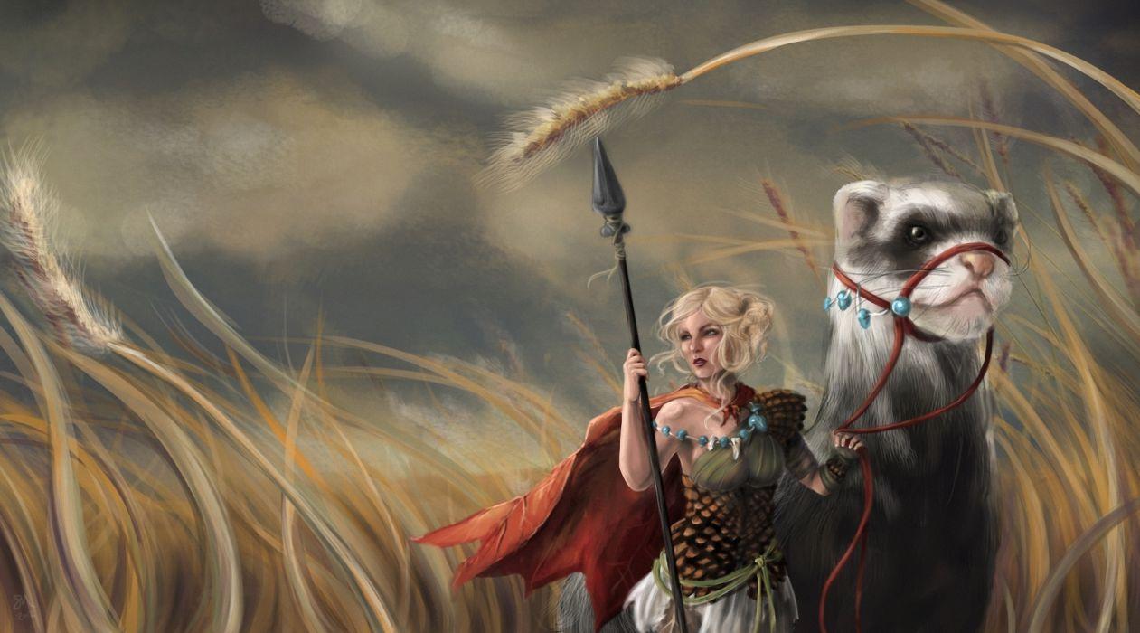 Warrior Magical animal Spear Fantasy Girl ferret wallpaper