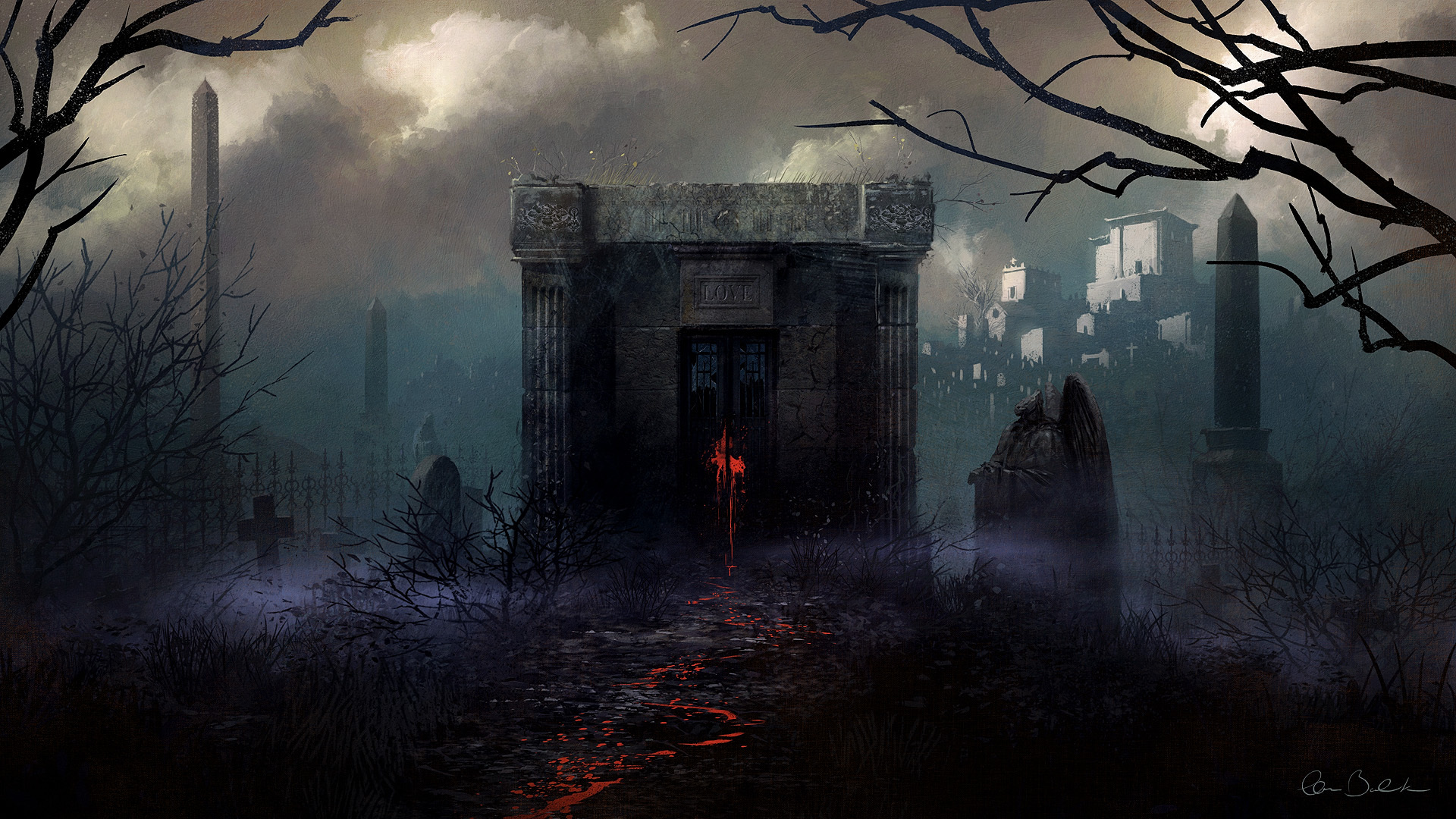 gothic christopher balaskas fog fantasy halloween blood spooky wallpaper 1920x1080 151677 wallpaperup