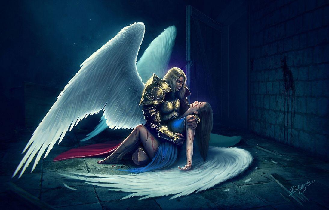 Angel Men Wings Armor Fantasy Girl mood sad death love wallpaper