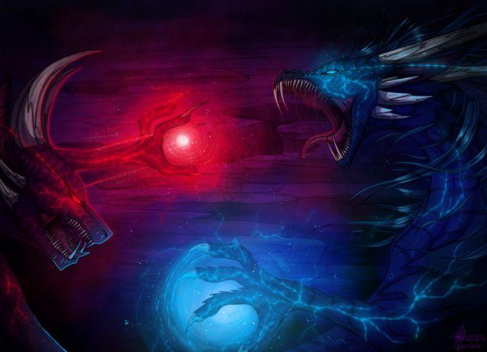 Dragon battle magic wallpaper