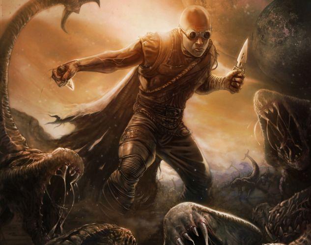 Riddick film Vin Diesel Men Warriors Movies Fantasy monster battle warrior wallpaper