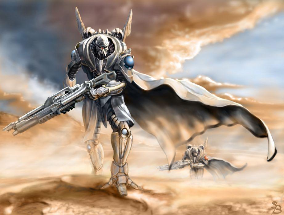 Technics Warrior Rifles Armor Cloak Fantasy robot wallpaper