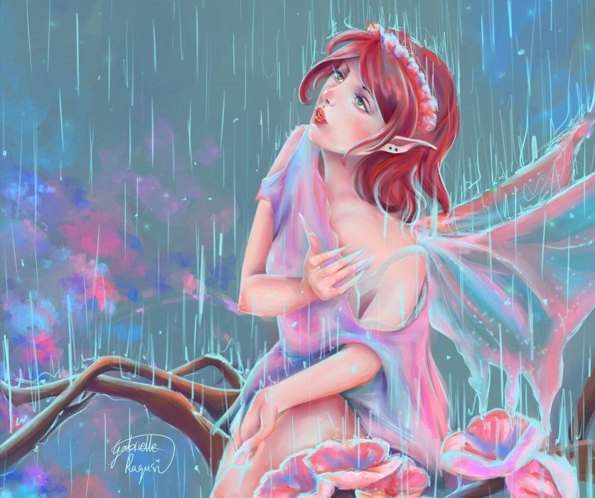 Rain Painting Art Redhead girl Fantasy Girl fairy mood bokeh wallpaper