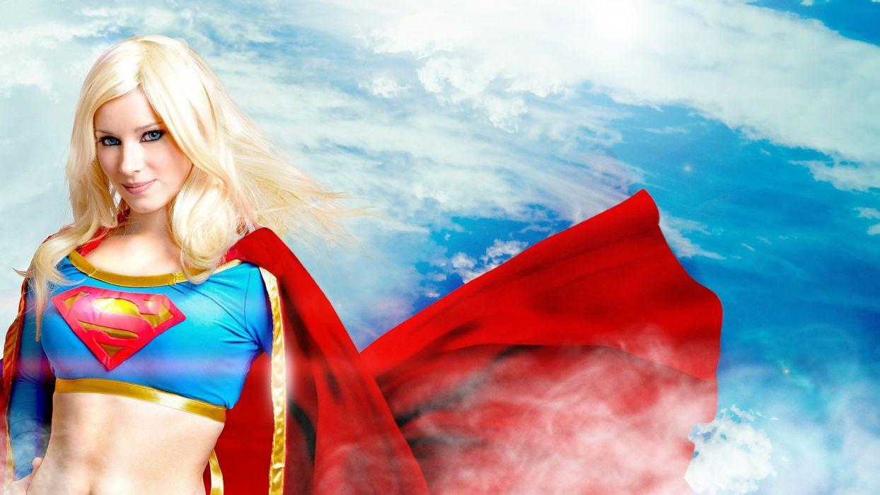 Supergirl superhero blonde sexy babe coplay uniform superman wallpaper