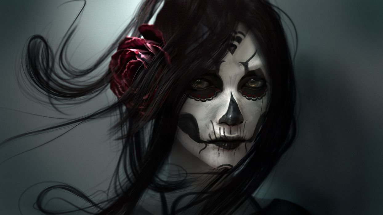 Gothic Face Brunette girl Hair Fantasy Girl fantasy skull death wallpaper