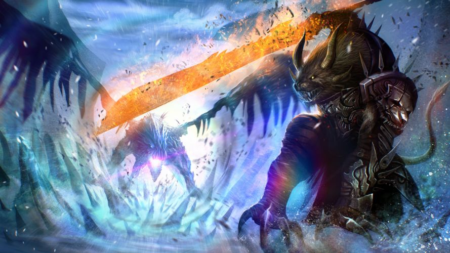 Guild Wars 2 Warrior Monster Dragon Horns Armor Game Fantasy wallpaper