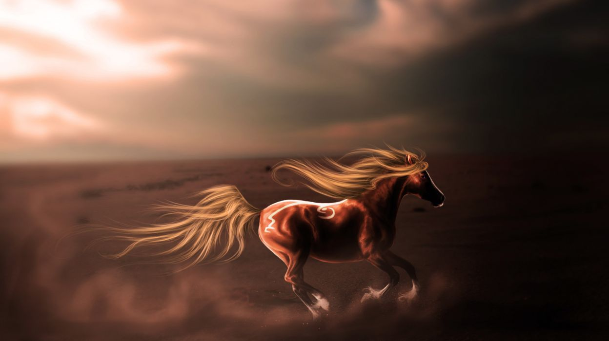 Horses art painting fantasy wallpaper