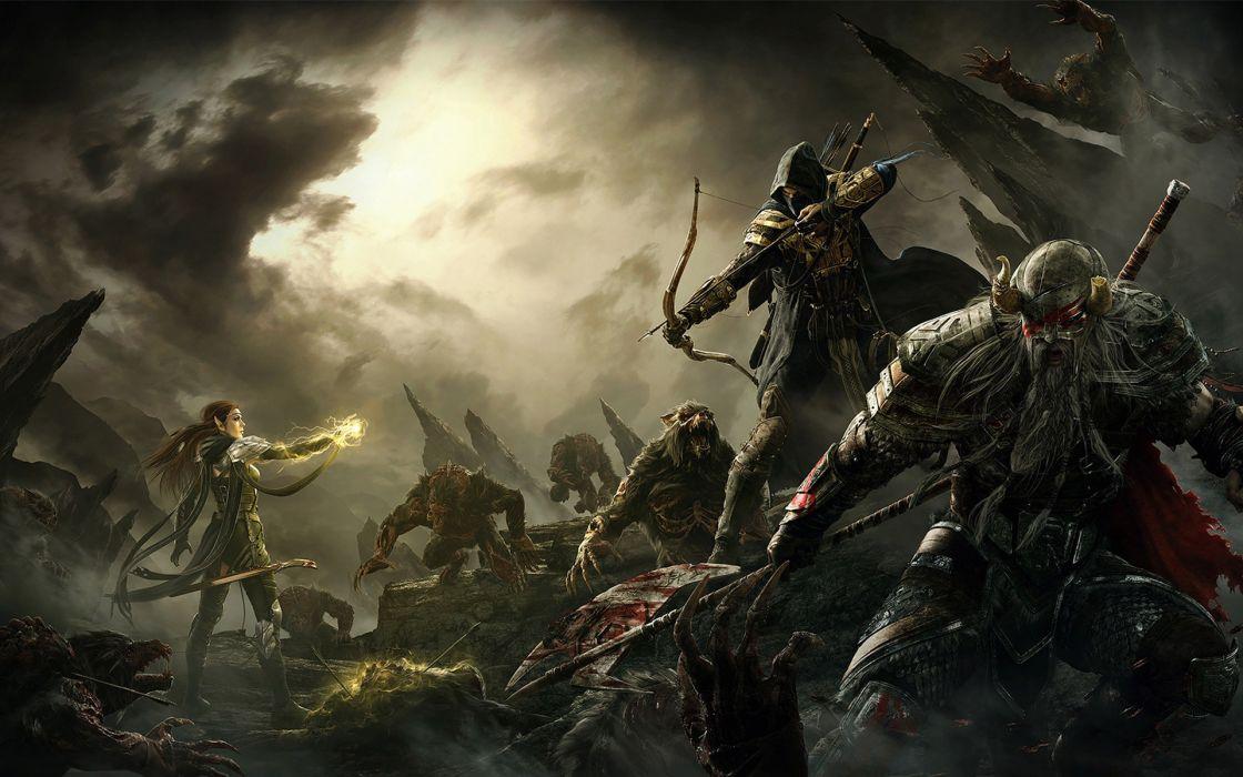 Elder Scrolls V Skyrim Warriors Archer Men Monster Armor Game Fantasy battle magic wallpaper