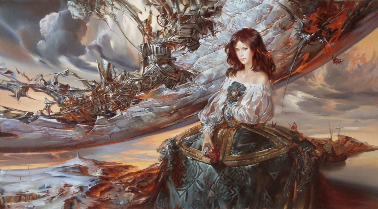 Pictorial art Fantastic world IVAN SLAVINSKY Fantasy Girl ... for Fantasy World Art Dragon  61obs