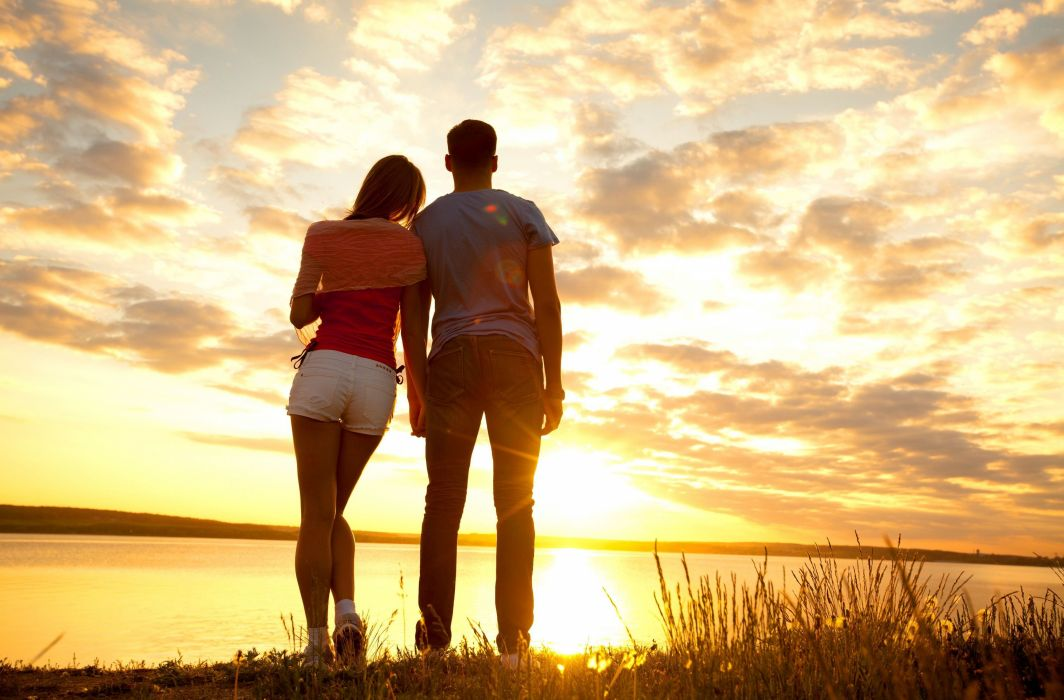 Sunrise sunset Couple love Sky Men Jeans Shorts Clouds Nature Girl reflection mood wallpaper